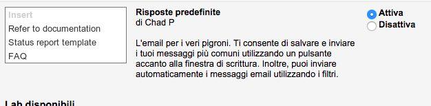 Gmail risposte predefinite