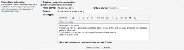 Gmail risposta automatica